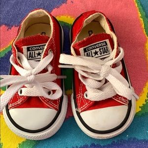 Converse red all star low stop toddler sneakers